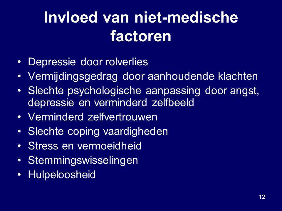 12 Invloed van niet-medische factoren Depressie door rolverlies Vermijdingsgedrag door aanhoudende klachten Slechte psychologische aanpassing door ang