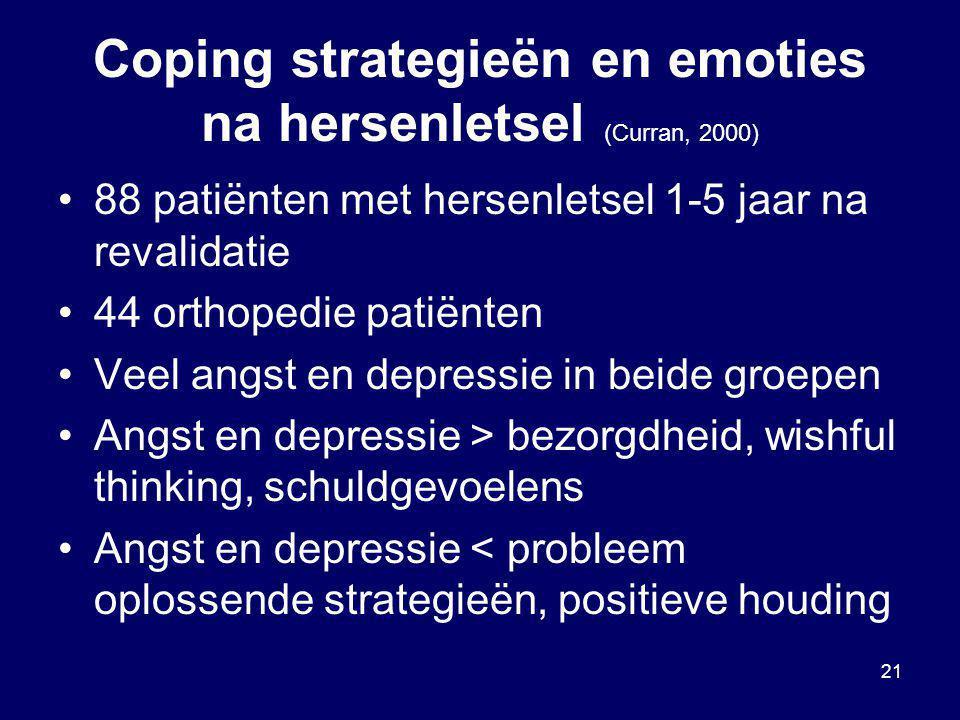 21 Coping strategieën en emoties na hersenletsel (Curran, 2000) 88 patiënten met hersenletsel 1-5 jaar na revalidatie 44 orthopedie patiënten Veel ang