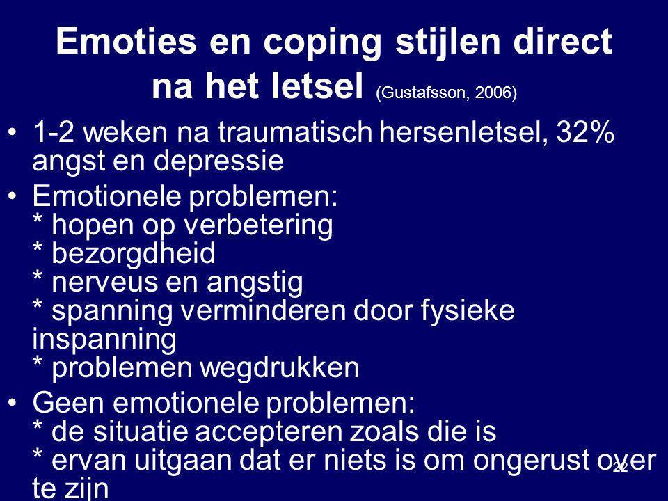 22 Emoties en coping stijlen direct na het letsel (Gustafsson, 2006) 1-2 weken na traumatisch hersenletsel, 32% angst en depressie Emotionele probleme
