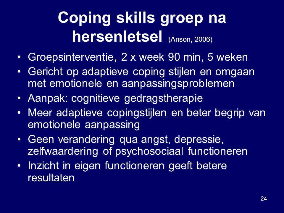 24 Coping skills groep na hersenletsel (Anson, 2006) Groepsinterventie, 2 x week 90 min, 5 weken Gericht op adaptieve coping stijlen en omgaan met emo