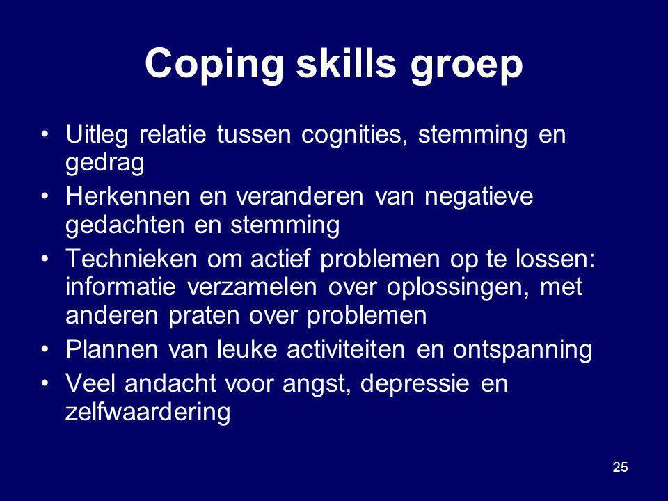 25 Coping skills groep Uitleg relatie tussen cognities, stemming en gedrag Herkennen en veranderen van negatieve gedachten en stemming Technieken om a