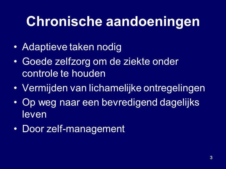 3 Chronische aandoeningen Adaptieve taken nodig Goede zelfzorg om de ziekte onder controle te houden Vermijden van lichamelijke ontregelingen Op weg n