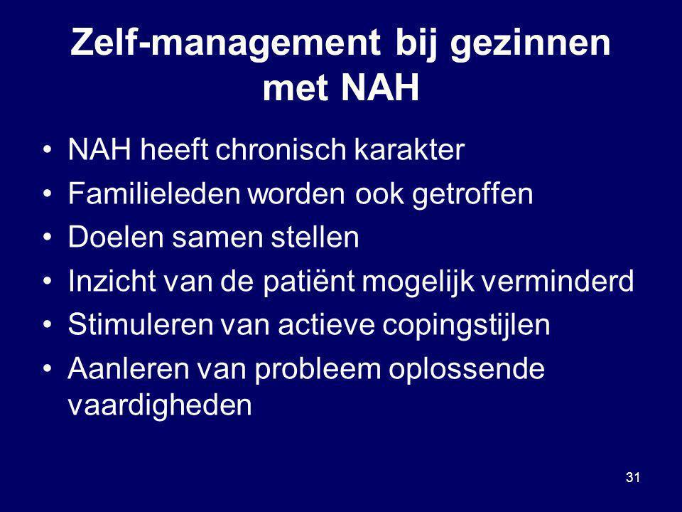 31 Zelf-management bij gezinnen met NAH NAH heeft chronisch karakter Familieleden worden ook getroffen Doelen samen stellen Inzicht van de patiënt mog