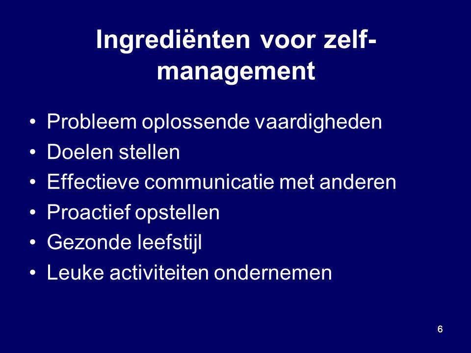 6 Ingrediënten voor zelf- management Probleem oplossende vaardigheden Doelen stellen Effectieve communicatie met anderen Proactief opstellen Gezonde l