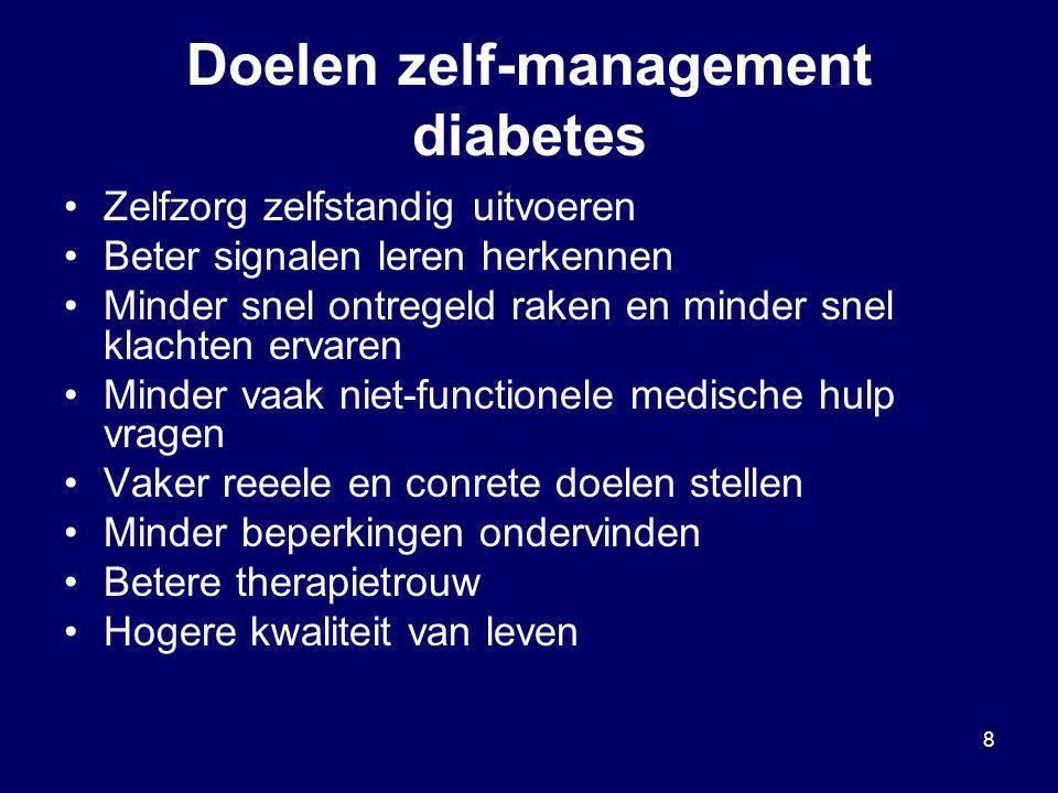 8 Doelen zelf-management diabetes Zelfzorg zelfstandig uitvoeren Beter signalen leren herkennen Minder snel ontregeld raken en minder snel klachten er