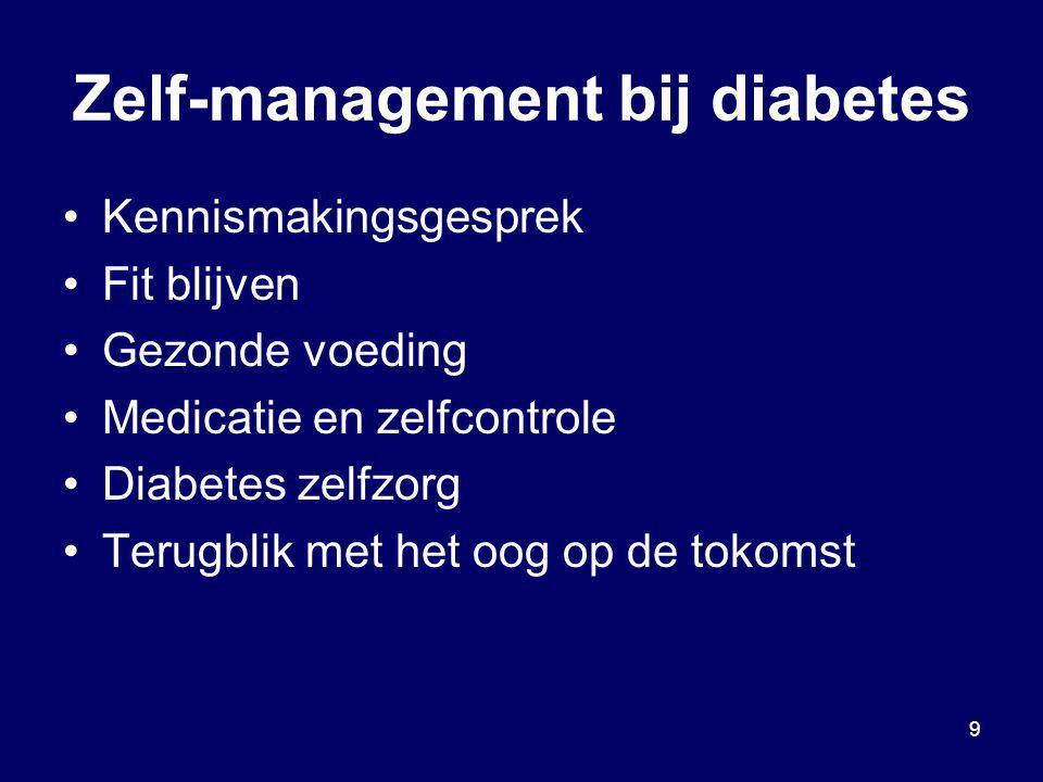 9 Zelf-management bij diabetes Kennismakingsgesprek Fit blijven Gezonde voeding Medicatie en zelfcontrole Diabetes zelfzorg Terugblik met het oog op d