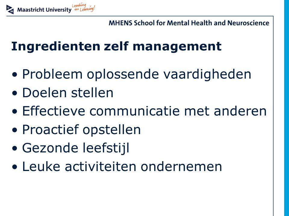 Ingredienten zelf management Probleem oplossende vaardigheden Doelen stellen Effectieve communicatie met anderen Proactief opstellen Gezonde leefstijl