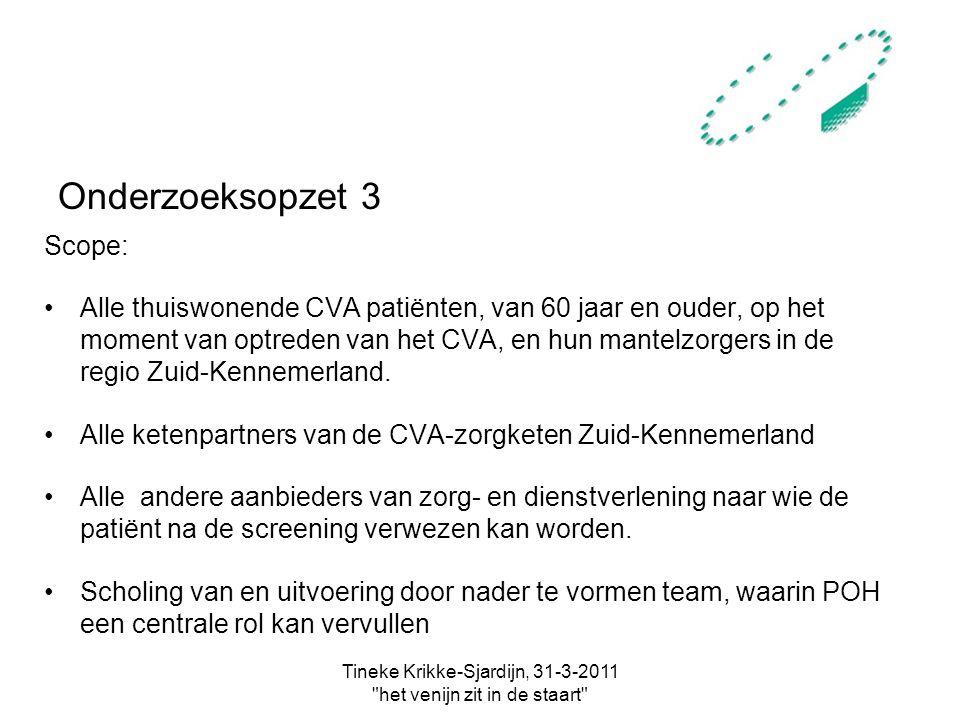 Tineke Krikke-Sjardijn, 31-3-2011 het venijn zit in de staart Onderzoeksopzet 3 Scope: Alle thuiswonende CVA patiënten, van 60 jaar en ouder, op het moment van optreden van het CVA, en hun mantelzorgers in de regio Zuid-Kennemerland.