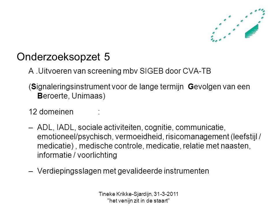 Tineke Krikke-Sjardijn, 31-3-2011 het venijn zit in de staart Onderzoeksopzet 5 A.Uitvoeren van screening mbv SIGEB door CVA-TB (Signaleringsinstrument voor de lange termijn Gevolgen van een Beroerte, Unimaas) 12 domeinen: –ADL, IADL, sociale activiteiten, cognitie, communicatie, emotioneel/psychisch, vermoeidheid, risicomanagement (leefstijl / medicatie), medische controle, medicatie, relatie met naasten, informatie / voorlichting –Verdiepingsslagen met gevalideerde instrumenten