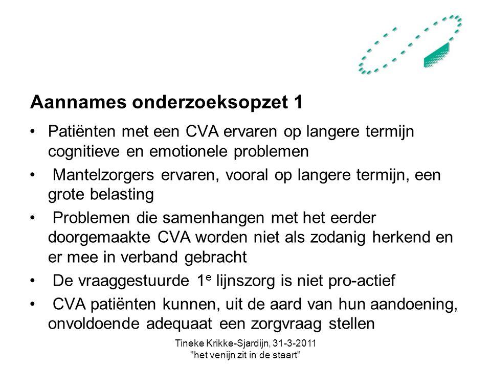 Tineke Krikke-Sjardijn, 31-3-2011 het venijn zit in de staart Aannames onderzoeksopzet 1 Patiënten met een CVA ervaren op langere termijn cognitieve en emotionele problemen Mantelzorgers ervaren, vooral op langere termijn, een grote belasting Problemen die samenhangen met het eerder doorgemaakte CVA worden niet als zodanig herkend en er mee in verband gebracht De vraaggestuurde 1 e lijnszorg is niet pro-actief CVA patiënten kunnen, uit de aard van hun aandoening, onvoldoende adequaat een zorgvraag stellen