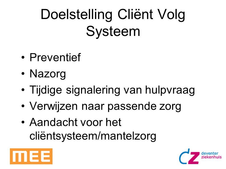Doelstelling Cliënt Volg Systeem Preventief Nazorg Tijdige signalering van hulpvraag Verwijzen naar passende zorg Aandacht voor het cliëntsysteem/mant