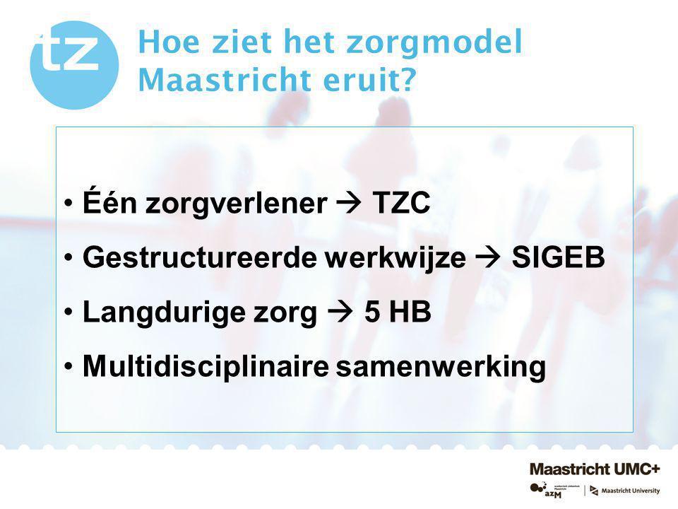 Hoe ziet het zorgmodel Maastricht eruit? Één zorgverlener  TZC Gestructureerde werkwijze  SIGEB Langdurige zorg  5 HB Multidisciplinaire samenwerki
