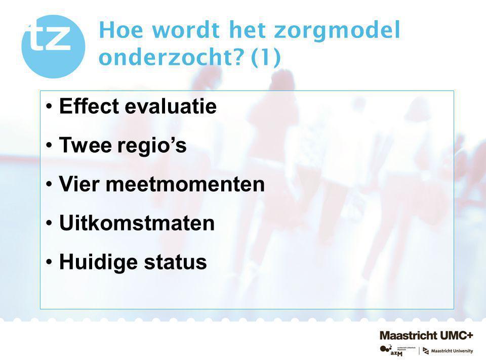 Hoe wordt het zorgmodel onderzocht? (1) Effect evaluatie Twee regio's Vier meetmomenten Uitkomstmaten Huidige status