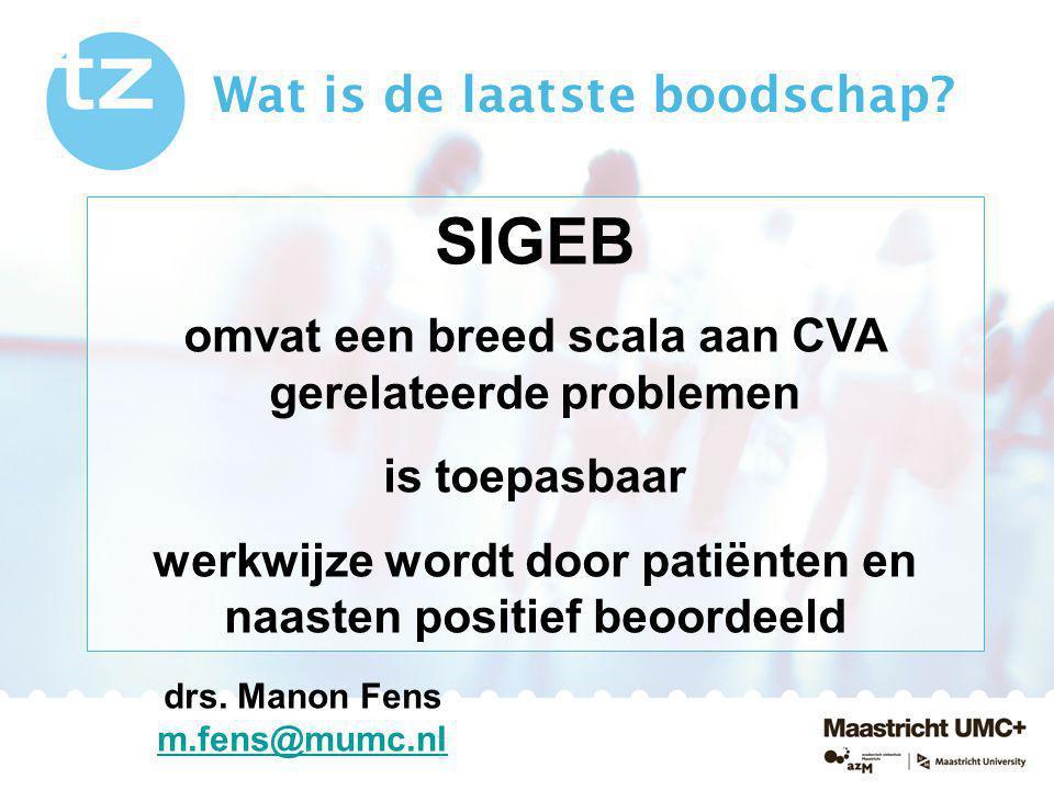 Wat is de laatste boodschap? SIGEB omvat een breed scala aan CVA gerelateerde problemen is toepasbaar werkwijze wordt door patiënten en naasten positi