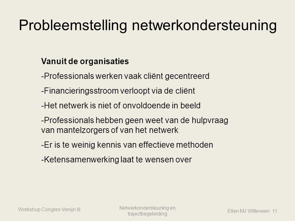 Probleemstelling netwerkondersteuning Workshop Congres Venijn III Netwerkondersteuning en trajectbegeleiding Ellen MJ Witteveen 11 Vanuit de organisat