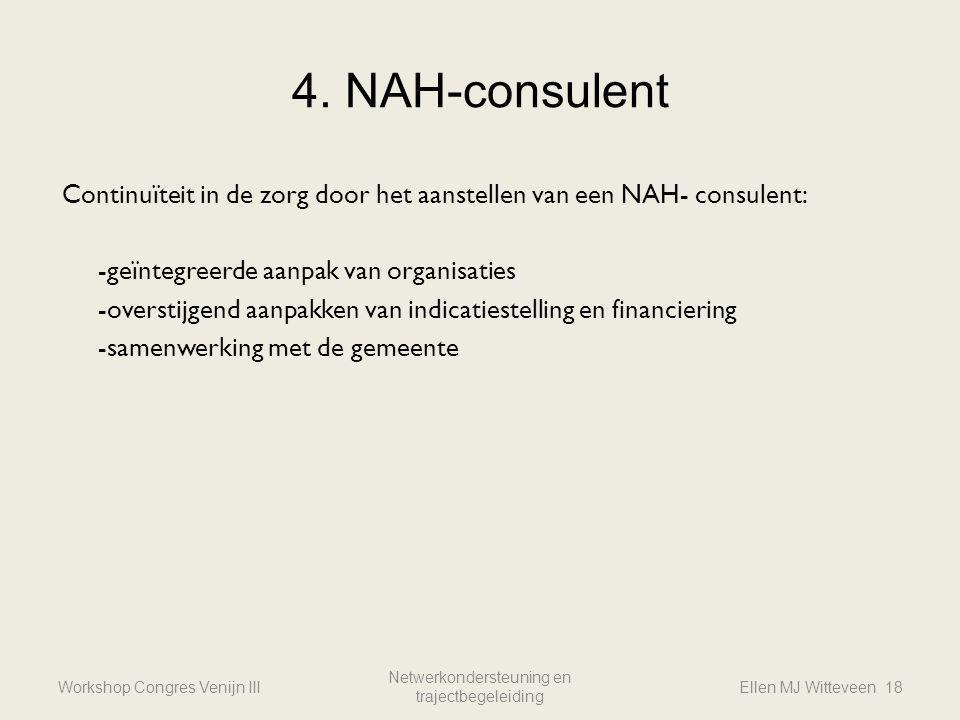 4. NAH-consulent Workshop Congres Venijn III Netwerkondersteuning en trajectbegeleiding Ellen MJ Witteveen 18 Continuïteit in de zorg door het aanstel