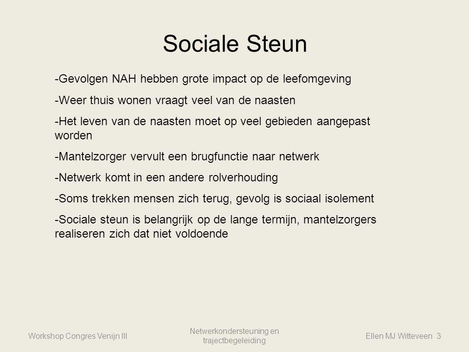 Sociale Steun Workshop Congres Venijn III Netwerkondersteuning en trajectbegeleiding Ellen MJ Witteveen 3 -Gevolgen NAH hebben grote impact op de leef