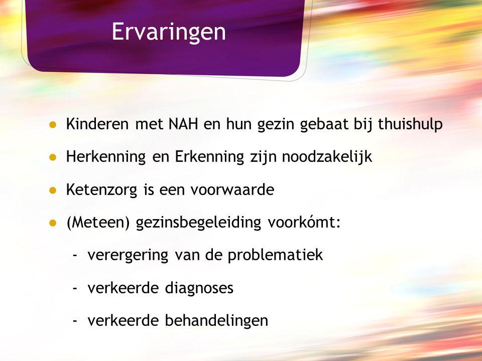 Ervaringen ● Kinderen met NAH en hun gezin gebaat bij thuishulp ● Herkenning en Erkenning zijn noodzakelijk ● Ketenzorg is een voorwaarde ● (Meteen) g