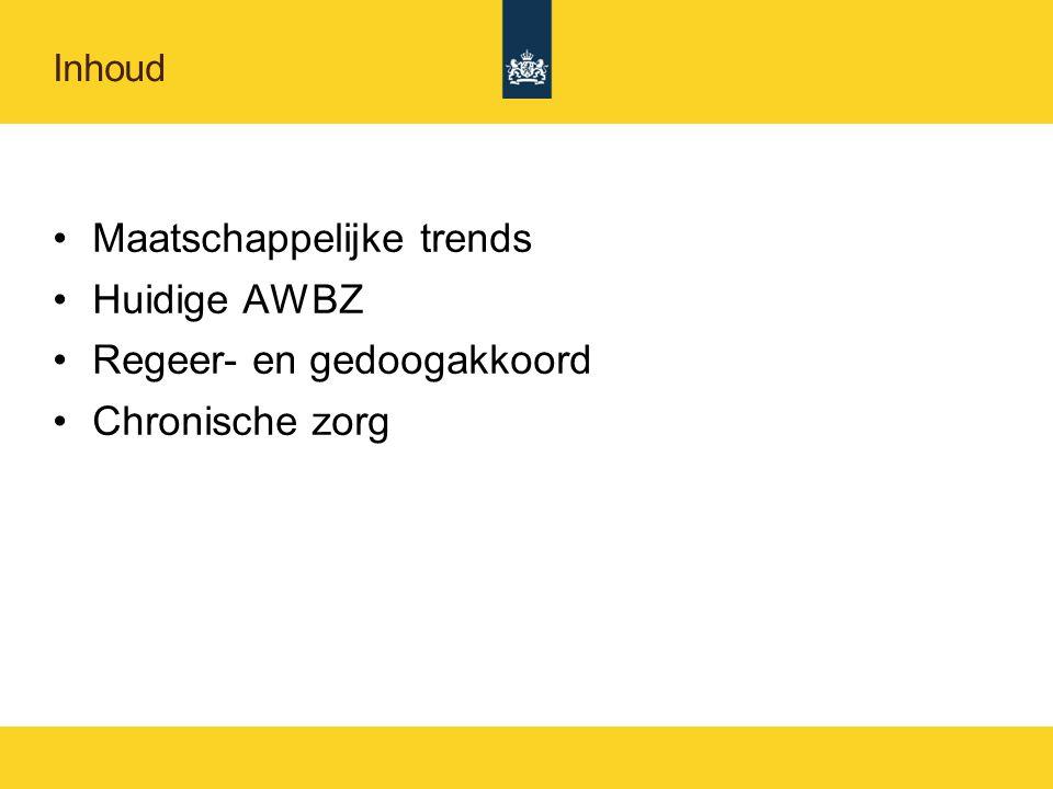 Inhoud Maatschappelijke trends Huidige AWBZ Regeer- en gedoogakkoord Chronische zorg