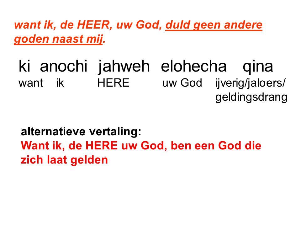 want ik, de HEER, uw God, duld geen andere goden naast mij.