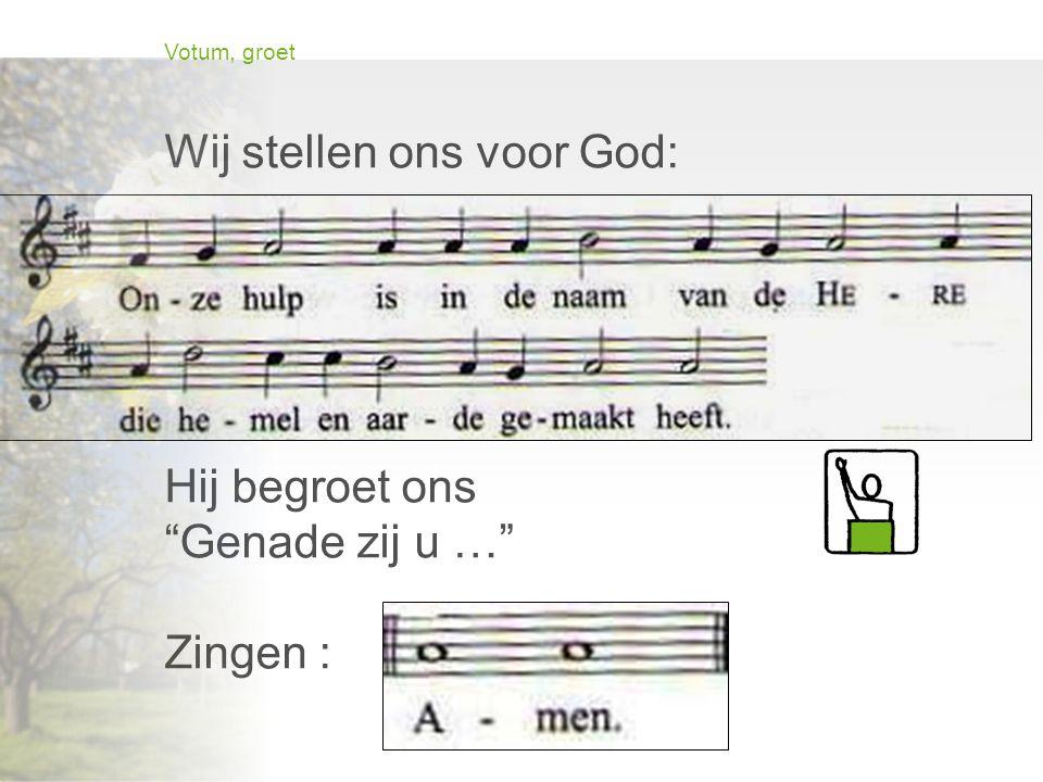 """Votum, groet Wij stellen ons voor God: """"Onze hulp …"""" Hij begroet ons """"Genade zij u …"""" Zingen :"""