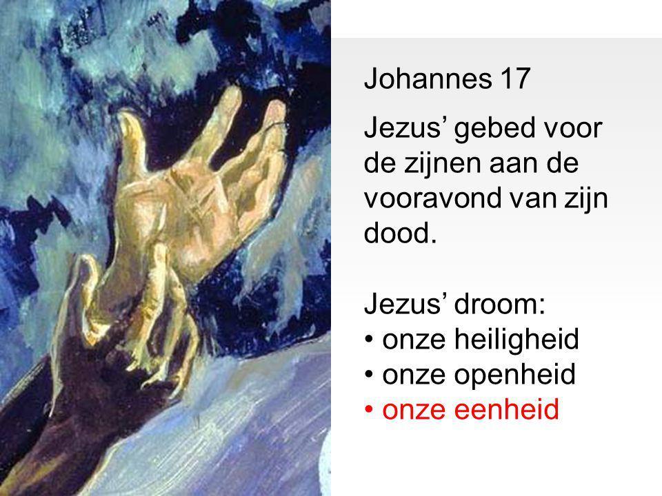 Johannes 17 Jezus' gebed voor de zijnen aan de vooravond van zijn dood. Jezus' droom: onze heiligheid onze openheid onze eenheid
