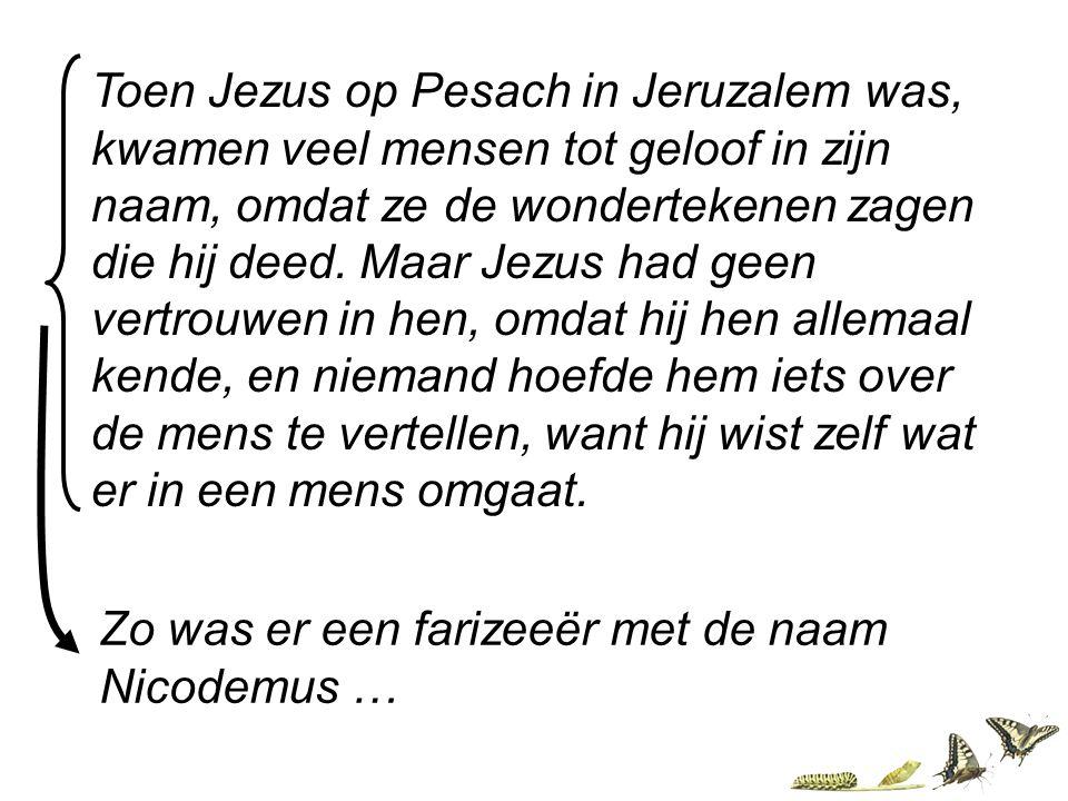 Toen Jezus op Pesach in Jeruzalem was, kwamen veel mensen tot geloof in zijn naam, omdat ze de wondertekenen zagen die hij deed. Maar Jezus had geen v