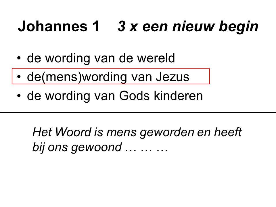 Johannes 1 3 x een nieuw begin de wording van de wereld de(mens)wording van Jezus de wording van Gods kinderen Wie hem ontvingen en in zijn naam geloven, heeft hij het voorrecht gegeven om kinderen van God te worden … … …
