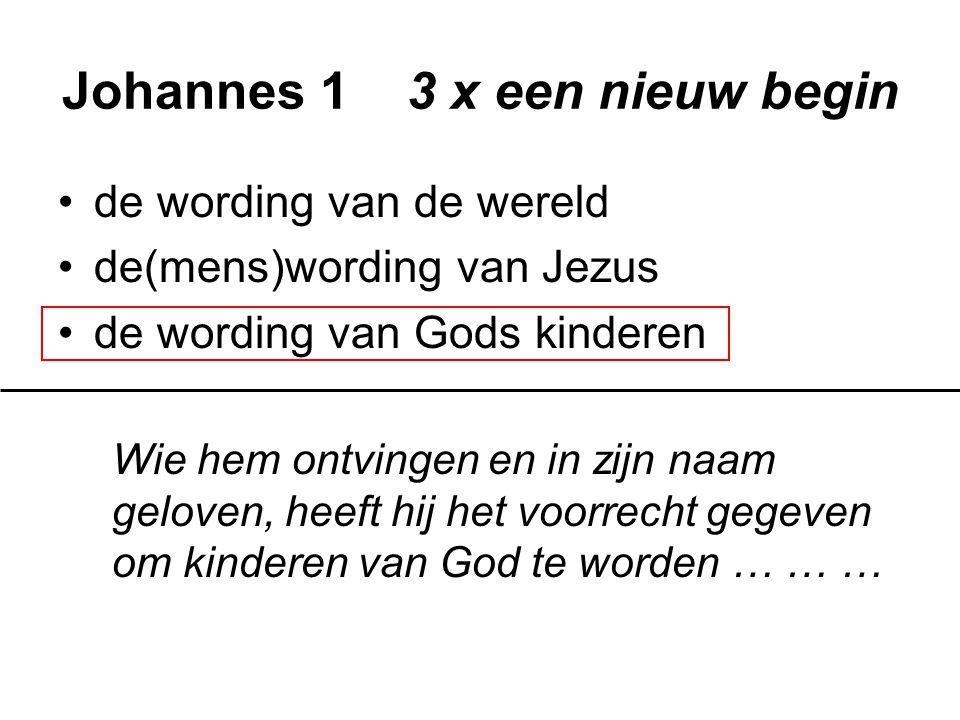 Johannes 1 3 x een nieuw begin de wording van de wereld de(mens)wording van Jezus de wording van Gods kinderen