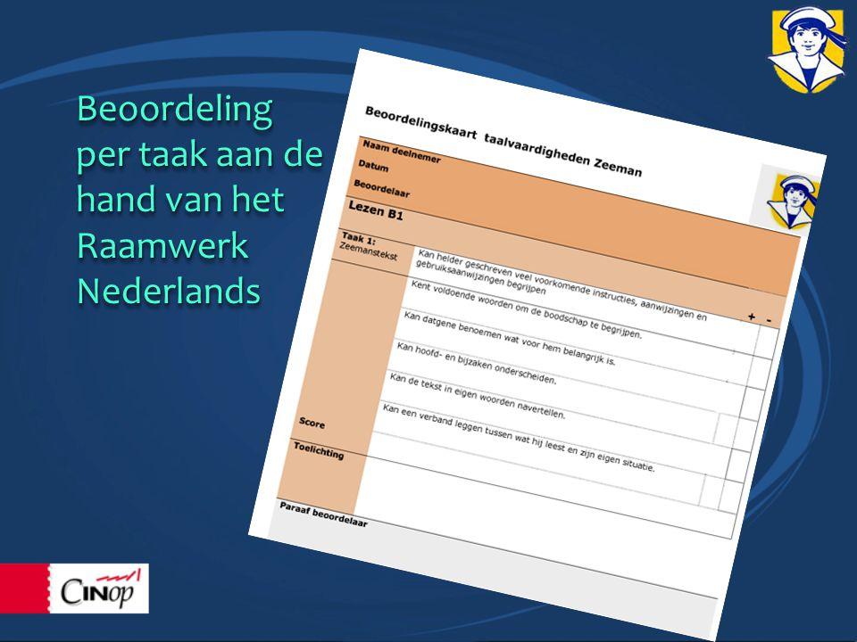Beoordeling per taak aan de hand van het RaamwerkNederlands Beoordeling per taak aan de hand van het RaamwerkNederlands