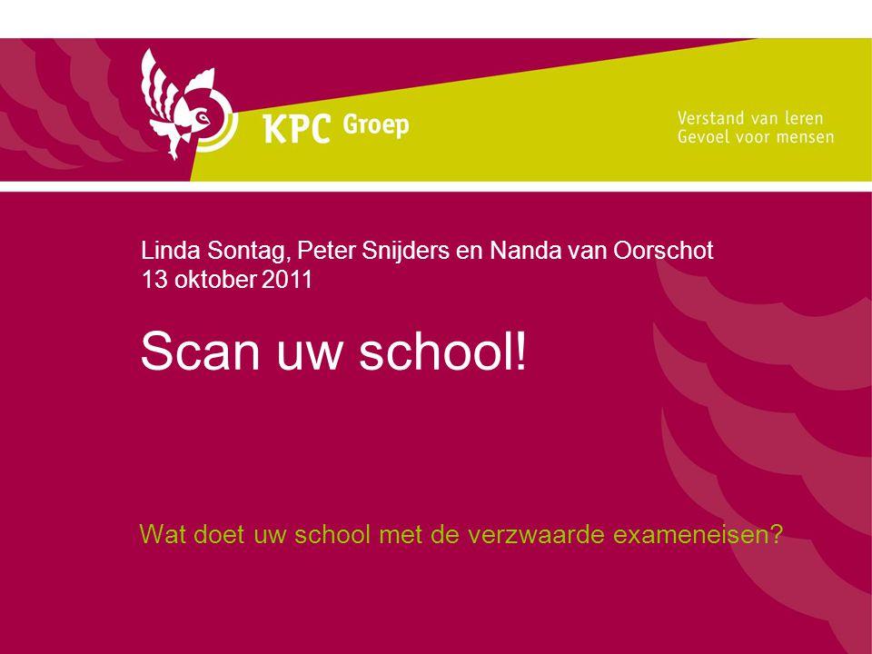Scan uw school! Wat doet uw school met de verzwaarde exameneisen? Linda Sontag, Peter Snijders en Nanda van Oorschot 13 oktober 2011