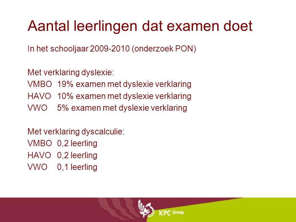 Aantal leerlingen dat examen doet In het schooljaar 2009-2010 (onderzoek PON) Met verklaring dyslexie: VMBO19% examen met dyslexie verklaring HAVO10%