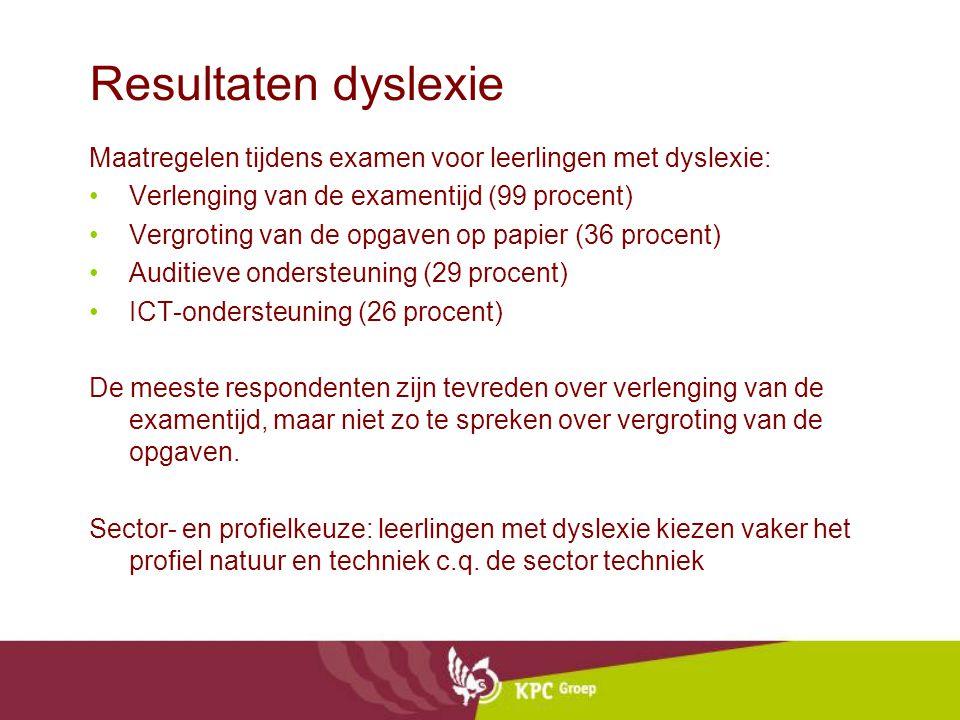 Resultaten dyslexie Maatregelen tijdens examen voor leerlingen met dyslexie: Verlenging van de examentijd (99 procent) Vergroting van de opgaven op pa