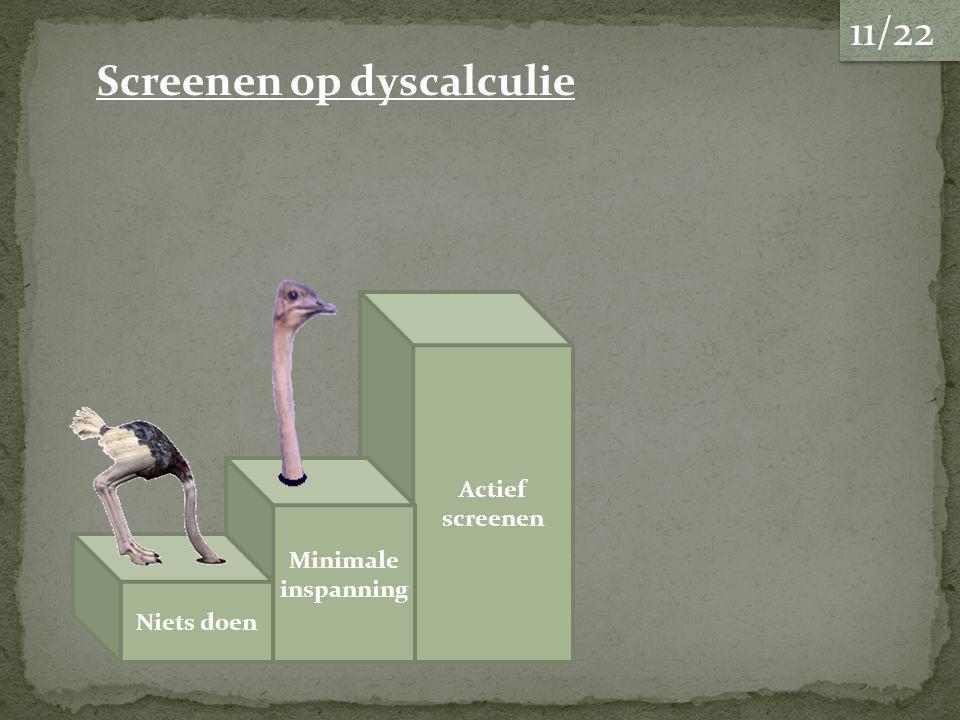 Actief screenen Niets doen Screenen op dyscalculie Minimale inspanning 11/22