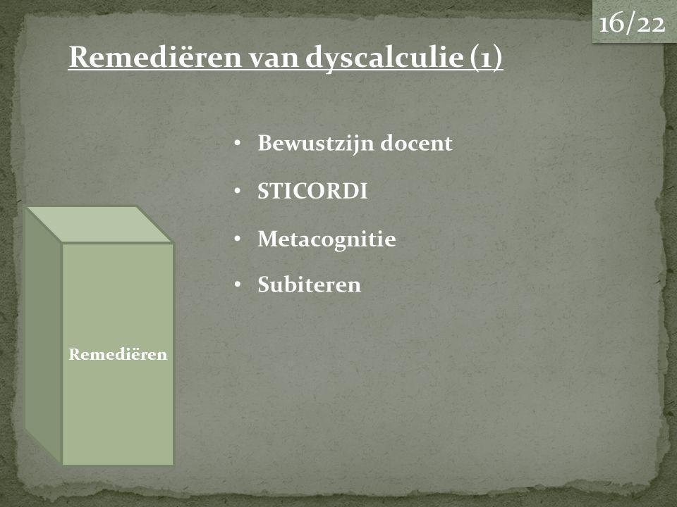 Remediëren van dyscalculie (1) Remediëren Bewustzijn docent STICORDI Metacognitie Subiteren 16/22