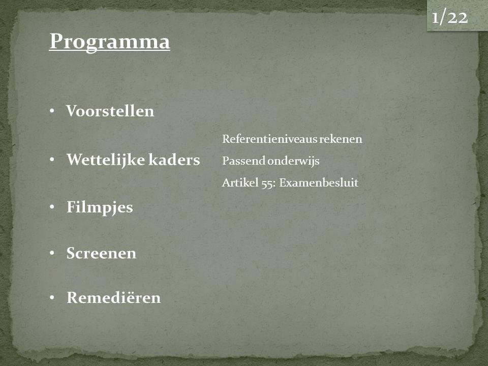 Voorstellen Wettelijke kaders Remediëren Screenen Referentieniveaus rekenen Filmpjes Passend onderwijs Artikel 55: Examenbesluit Programma 1/22