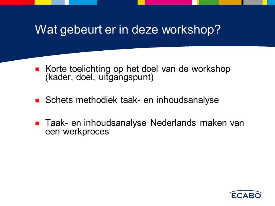 Wat gebeurt er in deze workshop? Korte toelichting op het doel van de workshop (kader, doel, uitgangspunt) Schets methodiek taak- en inhoudsanalyse Ta
