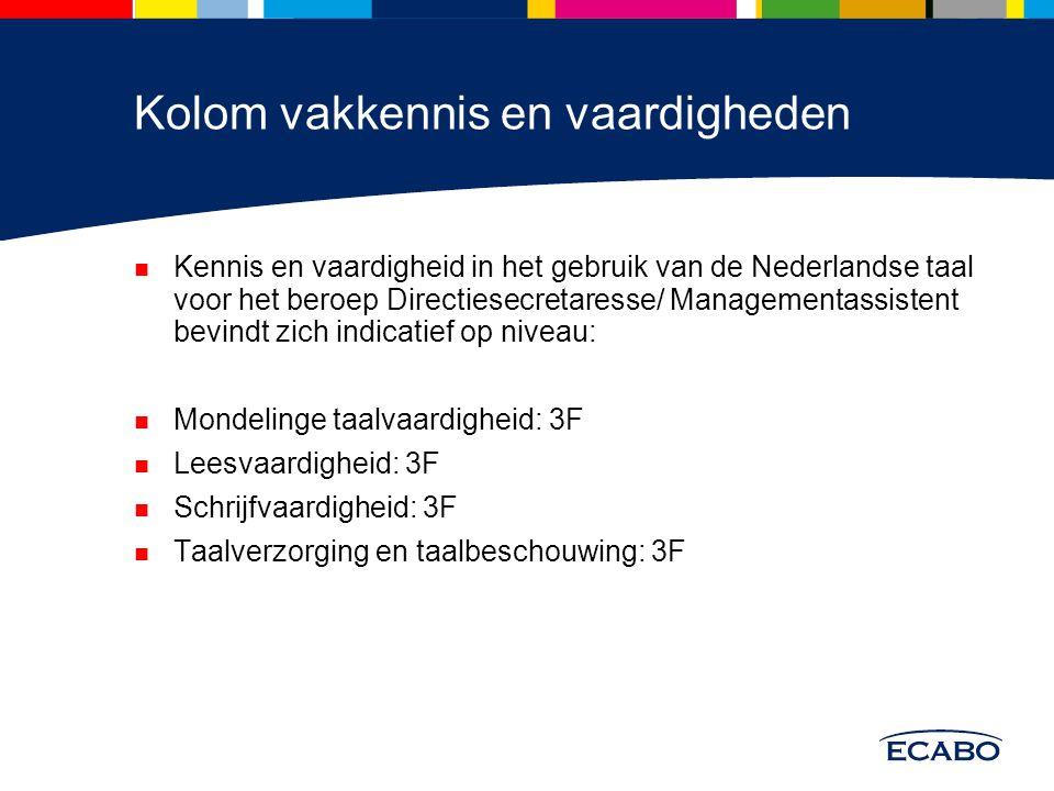 Kolom vakkennis en vaardigheden Kennis en vaardigheid in het gebruik van de Nederlandse taal voor het beroep Directiesecretaresse/ Managementassistent