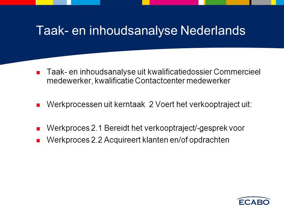 Taak- en inhoudsanalyse Nederlands Taak- en inhoudsanalyse uit kwalificatiedossier Commercieel medewerker, kwalificatie Contactcenter medewerker Werkp