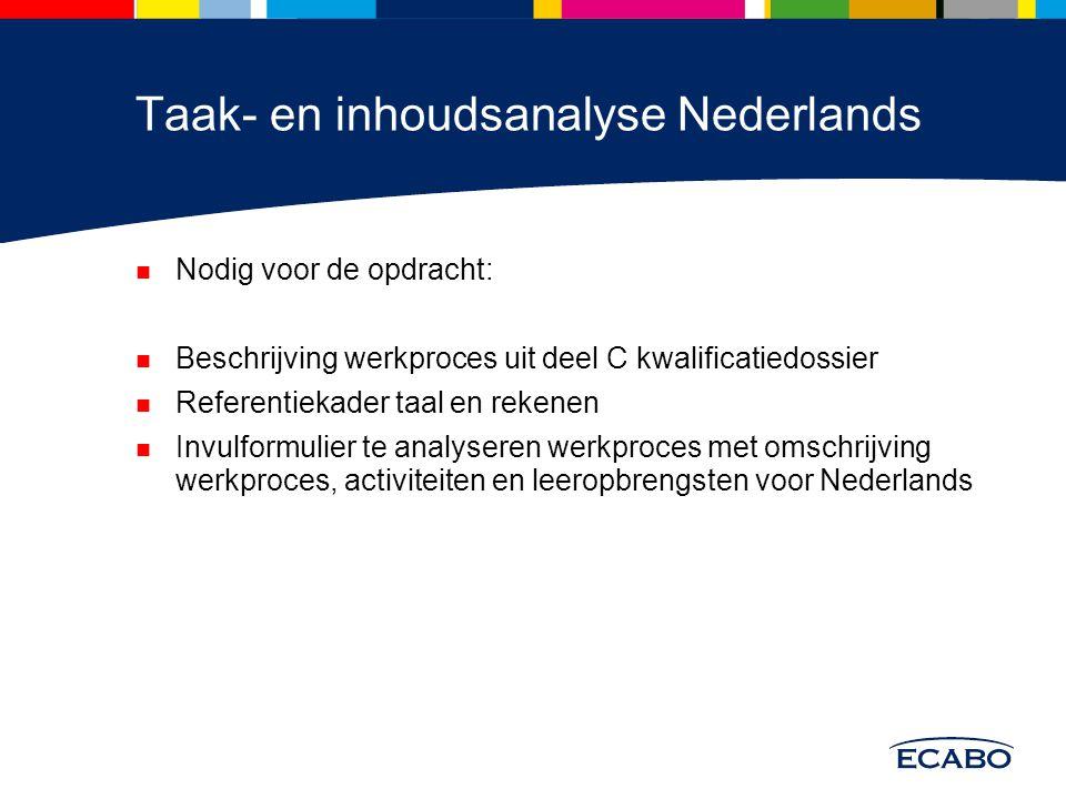 Taak- en inhoudsanalyse Nederlands Nodig voor de opdracht: Beschrijving werkproces uit deel C kwalificatiedossier Referentiekader taal en rekenen Invu