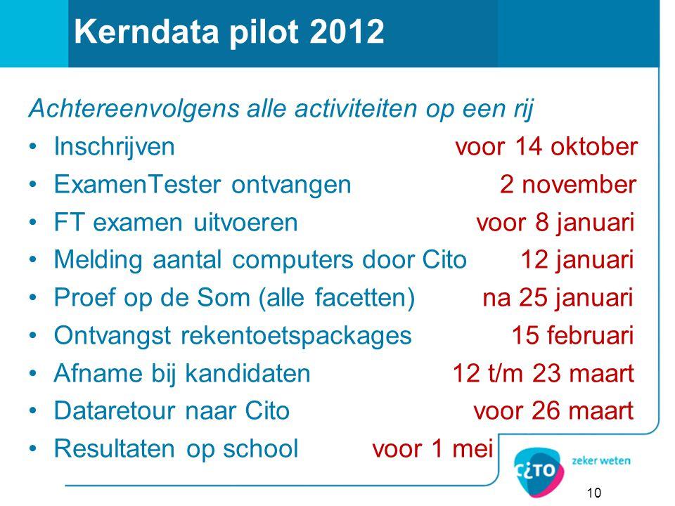 Kerndata pilot 2012 Achtereenvolgens alle activiteiten op een rij Inschrijven voor 14 oktober ExamenTester ontvangen 2 november FT examen uitvoeren vo