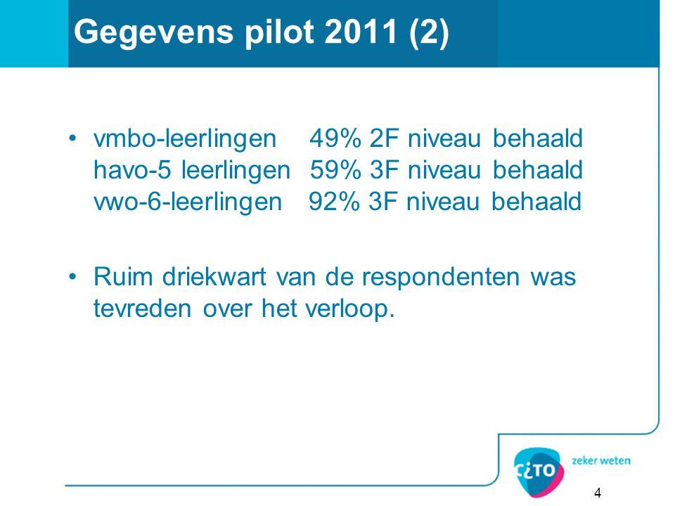 Gegevens pilot 2011 (2) vmbo-leerlingen 49% 2F niveau behaald havo-5 leerlingen 59% 3F niveau behaald vwo-6-leerlingen 92% 3F niveau behaald Ruim driekwart van de respondenten was tevreden over het verloop.