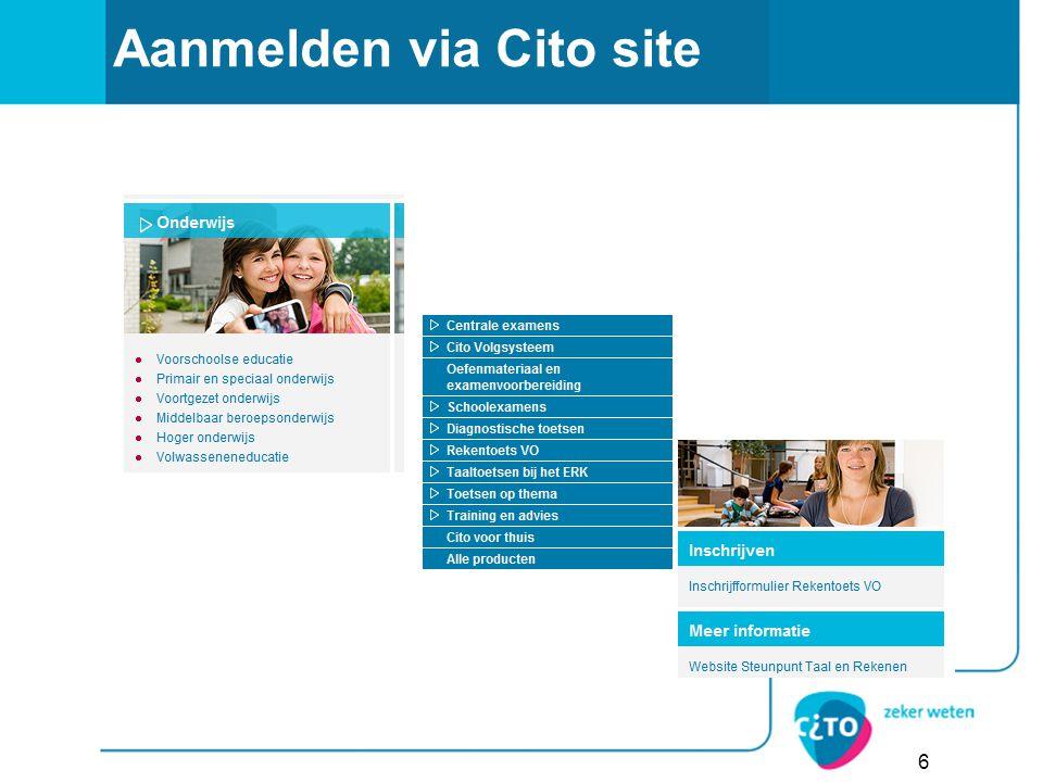 Aanmelden via Cito site 6