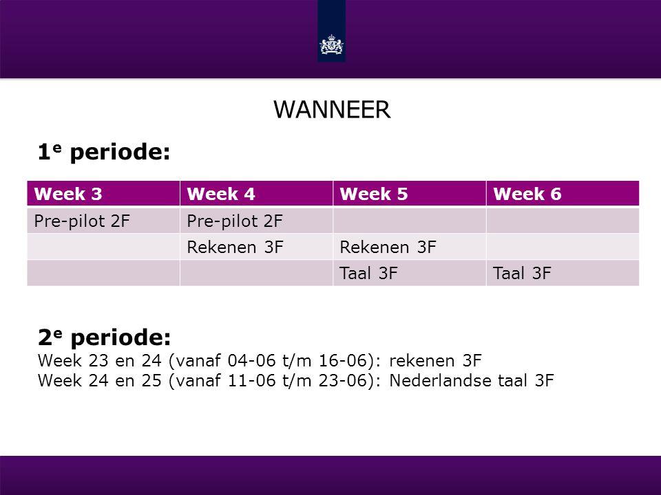 WANNEER Week 3Week 4Week 5Week 6 Pre-pilot 2F Rekenen 3F Taal 3F 2 e periode: Week 23 en 24 (vanaf 04-06 t/m 16-06): rekenen 3F Week 24 en 25 (vanaf 1