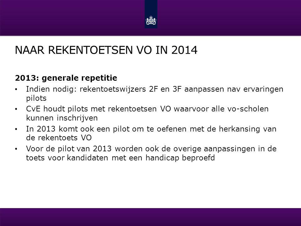NAAR REKENTOETSEN VO IN 2014 2013: generale repetitie Indien nodig: rekentoetswijzers 2F en 3F aanpassen nav ervaringen pilots CvE houdt pilots met re