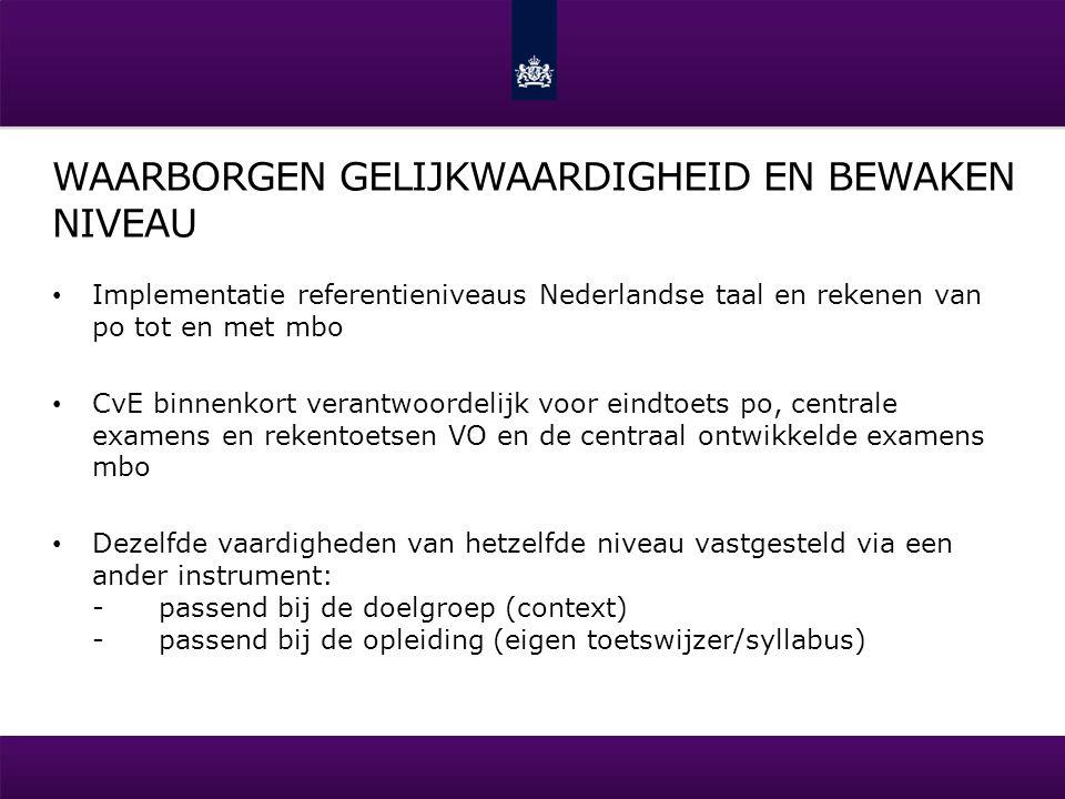 WAARBORGEN GELIJKWAARDIGHEID EN BEWAKEN NIVEAU Implementatie referentieniveaus Nederlandse taal en rekenen van po tot en met mbo CvE binnenkort verant