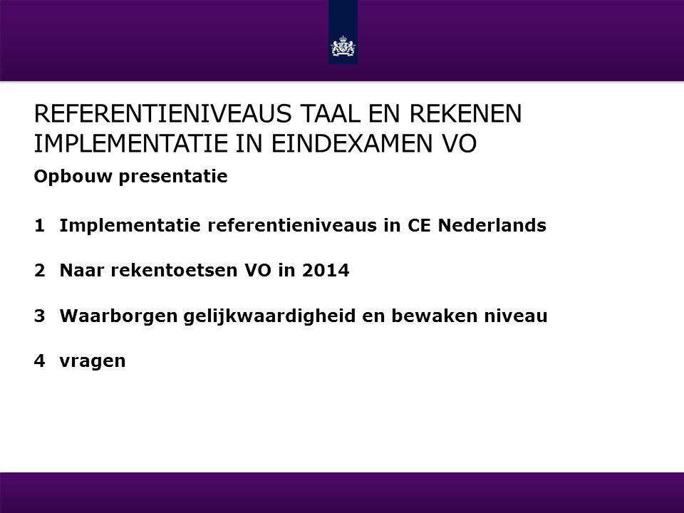 REFERENTIENIVEAUS TAAL EN REKENEN IMPLEMENTATIE IN EINDEXAMEN VO Opbouw presentatie 1Implementatie referentieniveaus in CE Nederlands 2Naar rekentoets