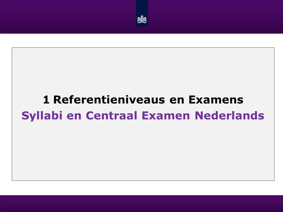 1Referentieniveaus en Examens Syllabi en Centraal Examen Nederlands