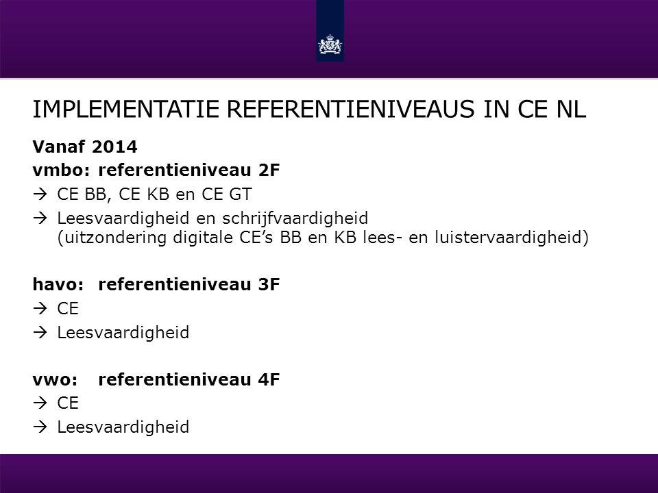 IMPLEMENTATIE REFERENTIENIVEAUS IN CE NL Vanaf 2014 vmbo:referentieniveau 2F  CE BB, CE KB en CE GT  Leesvaardigheid en schrijfvaardigheid (uitzonde