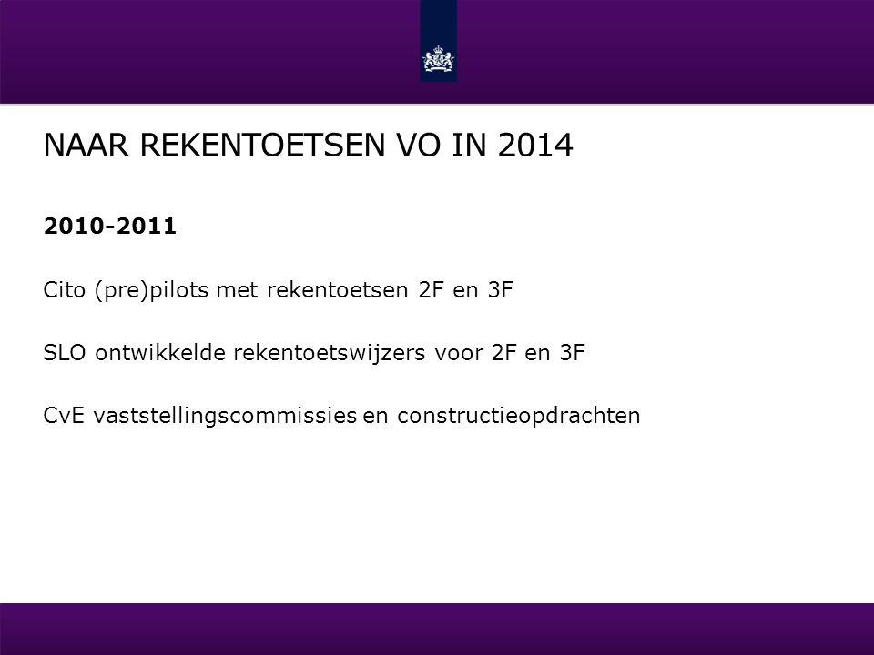 NAAR REKENTOETSEN VO IN 2014 2010-2011 Cito (pre)pilots met rekentoetsen 2F en 3F SLO ontwikkelde rekentoetswijzers voor 2F en 3F CvE vaststellingscom